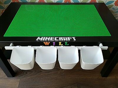 large minecraft lego play table with storage pots personalised with a name kids