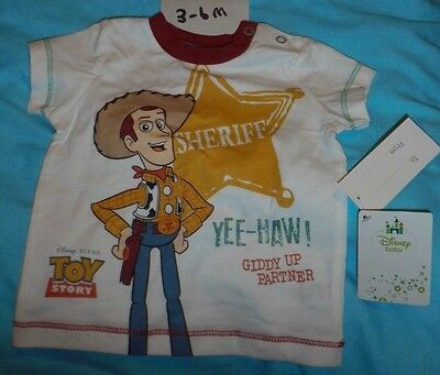 Brand New + Tags  Authentic White Print Disney Woody Toy Story Top 3-6  Months