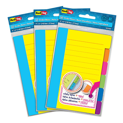 "Redi-Tag 60 Divider Sticky Ruled Notes Per Pack, 4"" X 6"", Assorted Neon Colors,"