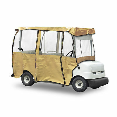 Pyle Armor Shield Deluxe 4 Sided Golf Cart Enclosure PCVGCE31 4 Passenger Tan