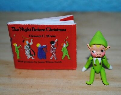"""Night before Christmas Miniature readable book w elf for 5"""" - 15"""" dolls"""
