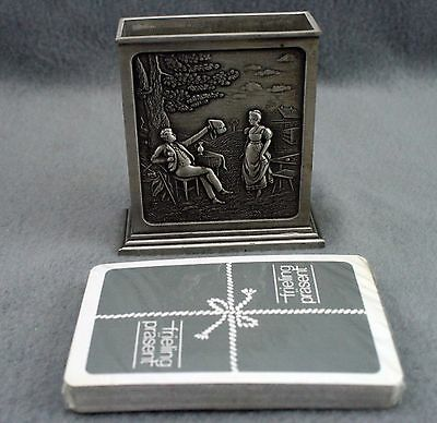 Vintage German 95% FRIELING Zinn Pewter Card Holder and Deck of Cards
