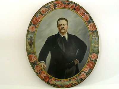 Rare Vintage 1904 Theodore Roosevelt Presidential Campaign Tin Lithograph Tray