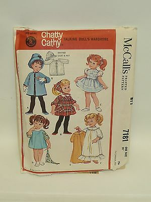 Vintage McCall's Chatty Cathy 1964 Pattern #7181 Uncut