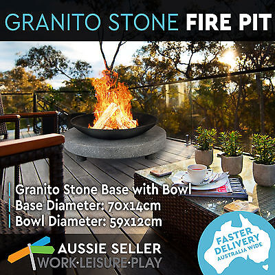 Outdoor Fire Pit Granito Stone Base + Round Cast Iron Bowl Firepit Fireplace BBQ