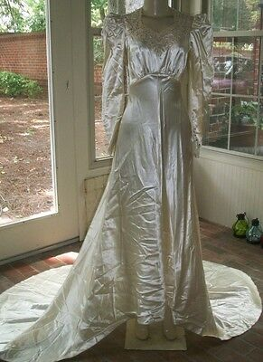 Vintage 1940's LIQUID SATIN IVORY WEDDING GOWN With Long Circular Train