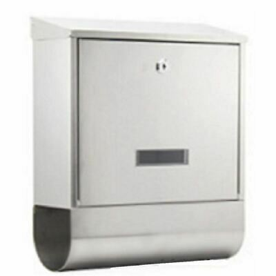 POST BOX Stainless Steel Mailbox Letter Wall Mount Lockable Key Newspaper Holder