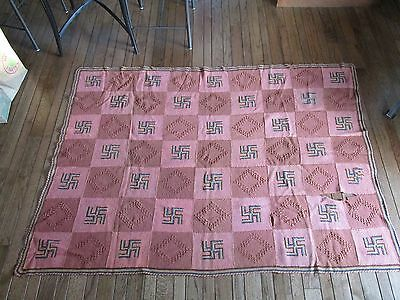 Antique Twirling Whirling Log Swastika Wool Friendship Blanket Quilt Rug 55 x 75