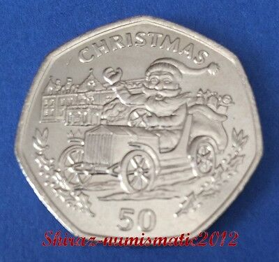 1993 SCARCE GIBRALTAR 50p Pence Santa In Car Christmas Coin UNC
