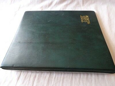 Luxury Padded Green 4 Ring Postcard Album & Clear Leaves, Very Good Condition