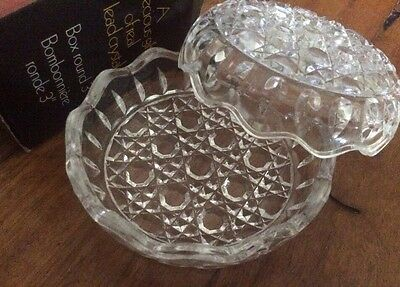 Anna Hutte Bleikristall 3'' Round Real Lead Crystal Ring Dish Lid Original Box