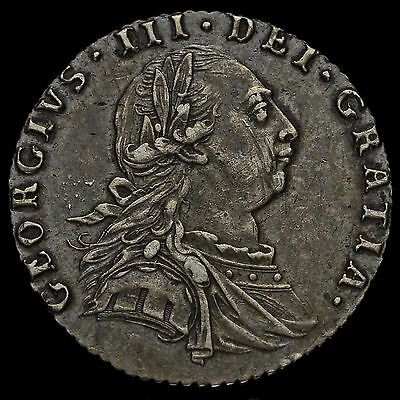 1787 George III Early Milled Silver Sixpence, No Hearts, Near EF