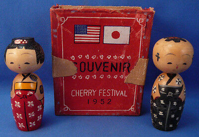 Vintage 1952 Korea Cherry Festival Souvenir Bobble Head Figurines,box