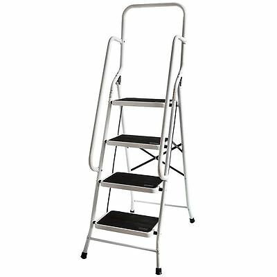 4 Step Ladder With Safety Handrail Anti-Slip Rubber Mat Tread Steel Foldable DIY