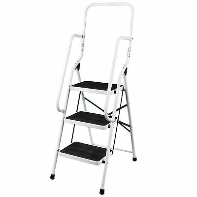 3 Step Ladder With Safety Handrail Anti-Slip Rubber Mat Tread Steel Folding DIY