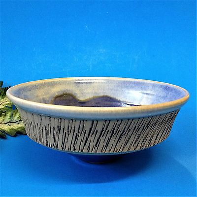 Australian Studio Pottery - 16cm Conical Based Bowl - Blue Glaze - Makers Mark