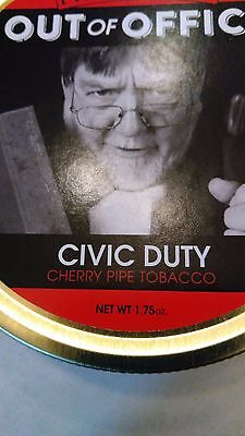 Rare Out Of Office , CIVIC DUTY Pipe Tobacco Tin Holds 1.75 OZ.
