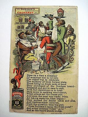 """Humorous Victorian Trade Card for """"Dunham's Concentrated Cocoanut """" w/ Apes *"""