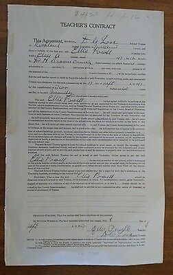 1917 Teachers Contract Miami County Indiana Richland Township 2.60 A Day