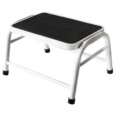 One Step Stool Compact White Metal Anti-Slip Grip Rubber Mat Bathroom Kitchen