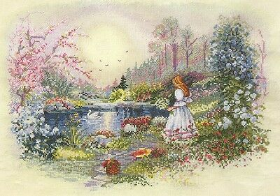 Still Waters - Girl Picking Flowers by Water - Cross Stitch Chart - Free Postage