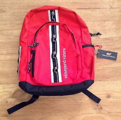 NWT  Vineyard Vines - Tech Backpack - Lighthouse Red with Navy Blue Trim -Whale