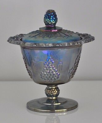 Blue Carnival Glass Lidded Compote w/ Iridescence