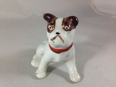 """Vintage Bulldog Figurine Brown and White Dog with Red Collar 2.5"""" Ceramic Figure"""