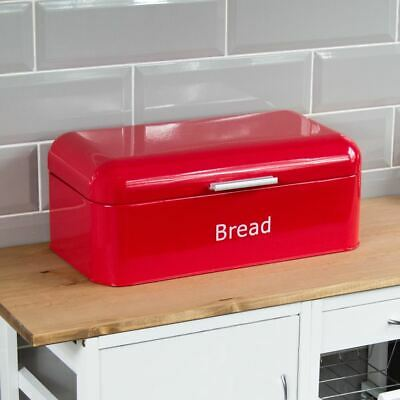 BREAD BIN Red Curved Steel Kitchen Top Container Loaf Roll Box Storage