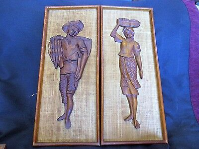 Vintage Carved Wooden Plaques / Retro Carved Wall Plaques/ Native Workers