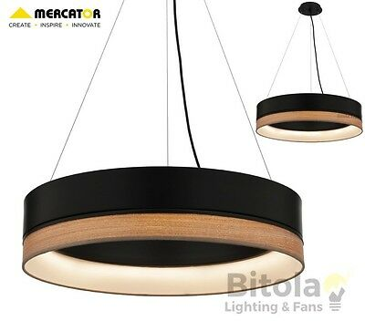 New Mercator Fitzgerald 24W Led Dimmable Ceiling Pendant Light Black With Timber
