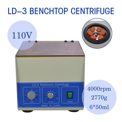 New 6*50ml LD-3 Electric Benchtop Centrifuge Lab Medical Practice 4000rpm