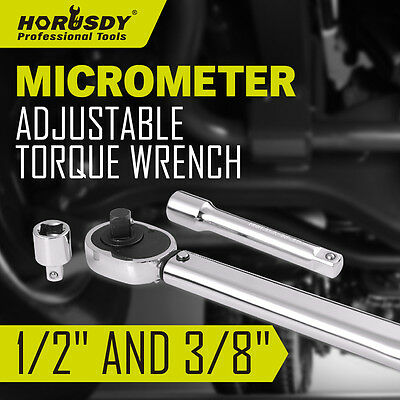 """3 PCS 1/2"""" and 3/8"""" DRIVE  ADJUSTABLE TORQUE Ratchet WRENCH 28-210nm With CASE"""