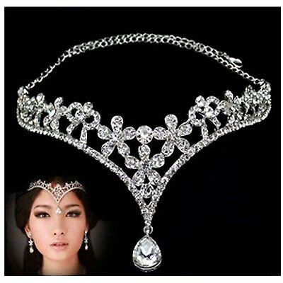 Wedding Bridal Womens Crystal Flower Decor Crown Headband Headdress Tiara