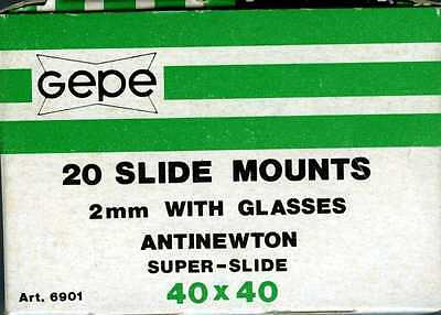 40 x 40 Gepe Slide Mounts 18 Count Box  with Anti Newton Glass