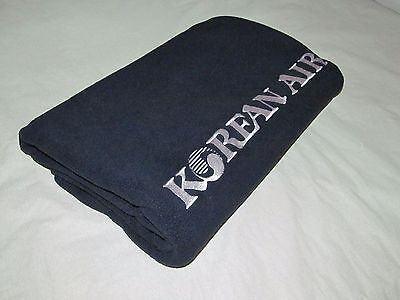 KOREAN AIR first class airline blanket navy fleece LARGE HEAVY NICE current