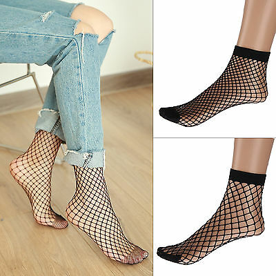 2 Pairs Women Fishnet Ankle High Socks Mesh Lace Anklet Fish Net Short Black