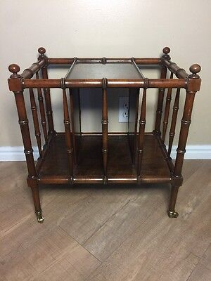 Baker Wood/Brass Canterbury Faux Bamboo Hollywood Regency Magazine Rack Vintage