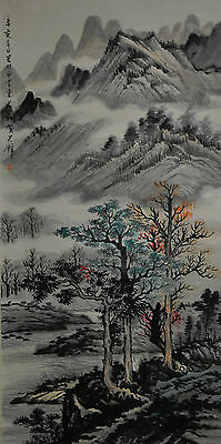 Vintage Chinese Hand Painted Watercolor Landscape Wall Hanging Scroll Painting