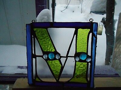 "Stained Glass Window Panel Suncatcher Letter  ""m"" Green Art"
