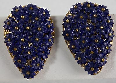 Pair 2 Flowered Dress Clips MIRIAM HASKELL Like Deep Blue Unsigned Delicate