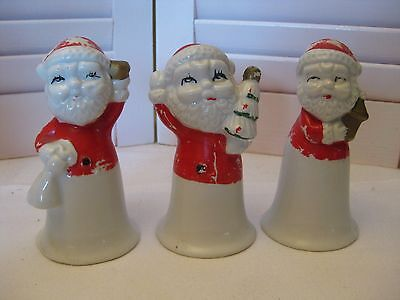 Lot of 3 Vintage Ceramic Santa Bells Hand Painted Christmas Red Cold Paint