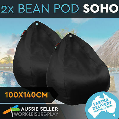 2x New BeanPod Chair Couch Cafe Bean Bag Cover Waterproof Indoor Outdoor Black