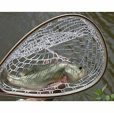 New Fly Fishing Landing Net Tackle Trout Catch Release Rubber Mesh Wooden Handle