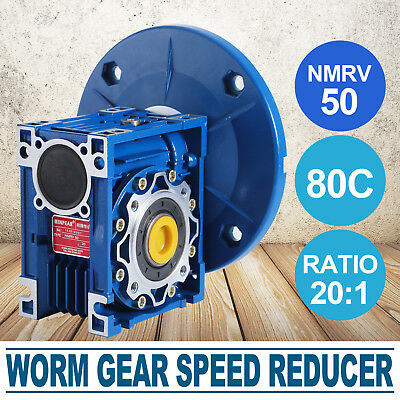 NMRV050 Worm Gear Ratio 20:1 80C Speed Reducer Gearbox Modern 1.14HP Aluminum
