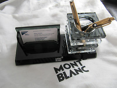 Montblanc pen and business card holder made of glass - unique