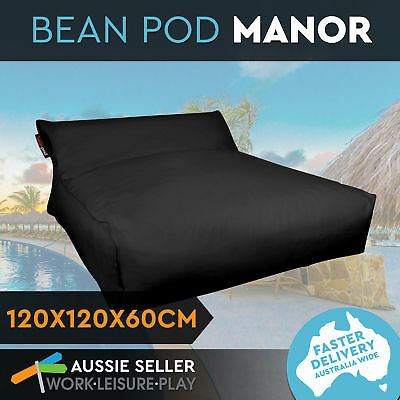 Bean Bag Soft Bed Outdoor Indoor Movie Camping Waterproof Cover BeanPod Black