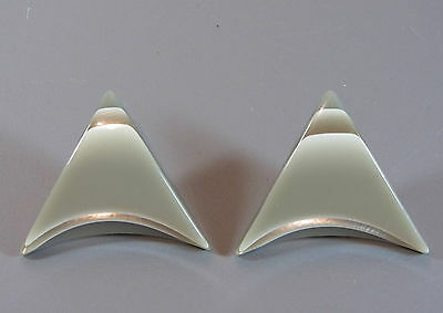 Vintage laminated triangle earrings ear clips with silver layers Geometric shape