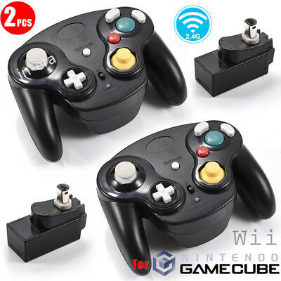 2PCS Wireless Controllers Gamepad Receiver For GameCube GC NGC Wii Console Black