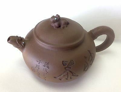 Vintage Antique Chinese Clay Teapot- Calligraphy/ Bird - Signed
